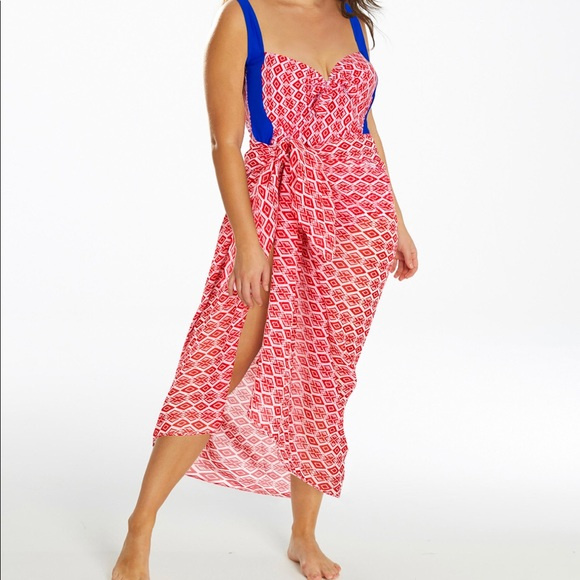 Simply Be Other - New Plus Size Red & Blue Swim Set Size 24